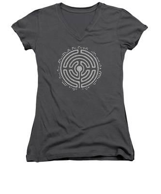 Celtic Labyrinth Mandala Women's V-Neck