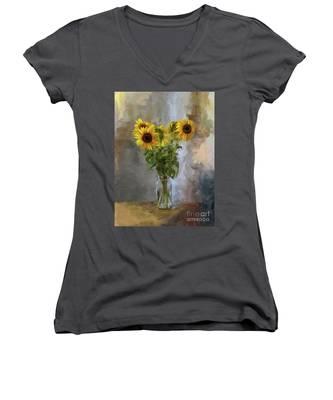 Five Sunflowers Centered Women's V-Neck