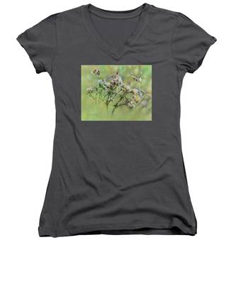 Goldfinches On Thistle Women's V-Neck