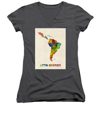 Latin America Watercolor Map Women's V-Neck
