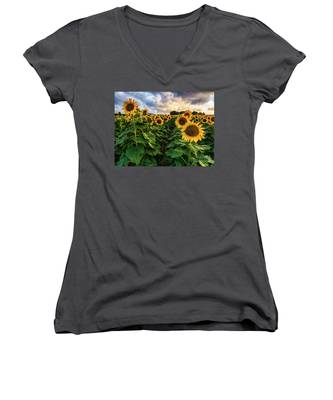 Long Island Sunflowers  Women's V-Neck