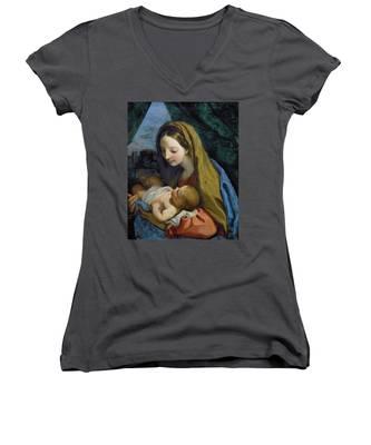 Madonna And Child Women's V-Neck