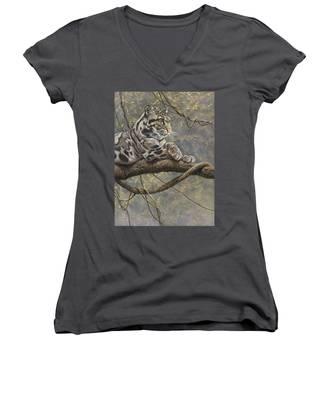 Male Clouded Leopard Women's V-Neck