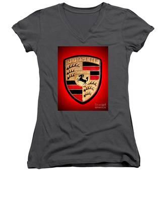Old Porsche Badge Women's V-Neck