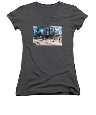 Pick-up Truck In The Itty-bitty-city Women's V-Neck
