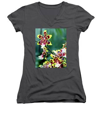 Striped Maroon And Yellow Orchid Women's V-Neck
