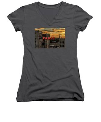 Sunset At The Brewery Women's V-Neck