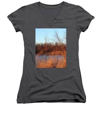 Sunset Field Over Water Women's V-Neck