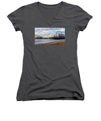 The Pier On A Cloudy Day Women's V-Neck