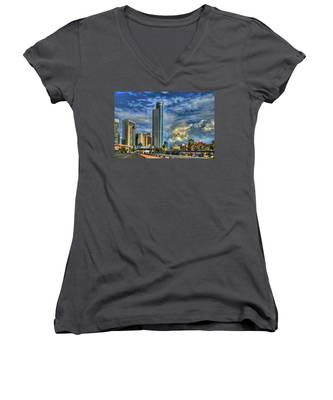The Skyscraper And Low Clouds Dance Women's V-Neck