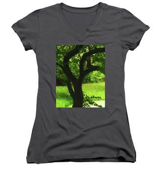 Tree Trunk Green Women's V-Neck