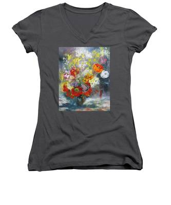 Tulips, Narcissus And Forsythia Women's V-Neck