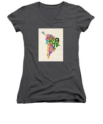 Typography Map Of Central And South America Women's V-Neck