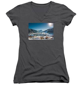 Warm Winter Day In Kirchberg Town Of Austria Women's V-Neck