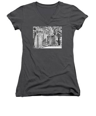 Winter Steps At The Vanderbilt In Centerport, Ny Women's V-Neck