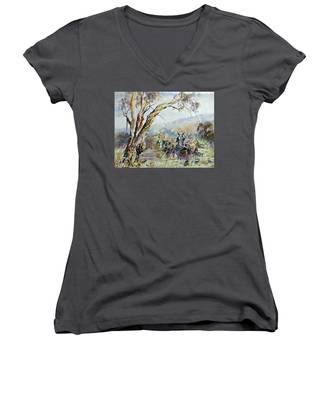 Working Clydesdale Pair, Australian Landscape. Women's V-Neck