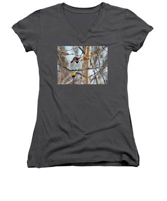 Yellow-shafted Northern Flicker Staying Warm Women's V-Neck