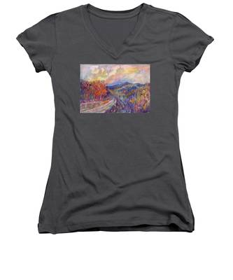 Country Road In The Autumn Forest Women's V-Neck