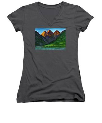 Evening Illumination Of Snowy Mountain Peaks With Waterfalls And A Mountain River Women's V-Neck