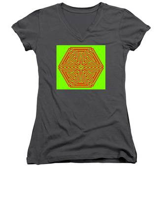 Green And Red Fusion  Women's V-Neck