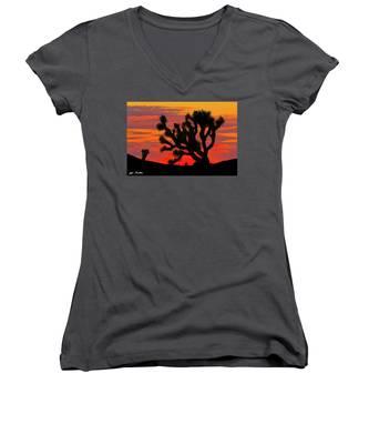 Joshua Tree At Sunset Women's V-Neck
