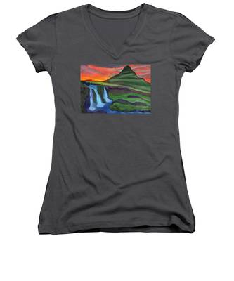 Mountain And Waterfall In The Rays Of The Setting Sun Women's V-Neck