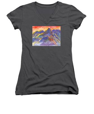 Red Sunset In The Mountains Women's V-Neck
