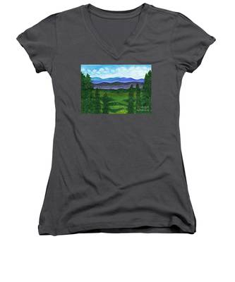 View From A Mountain Slope To Distant Mountains And Forests Women's V-Neck