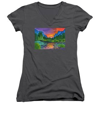 Mountain River In The Background Of The Forest And The Blue Mountains At Sunset Women's V-Neck