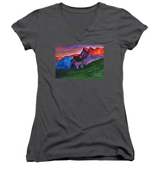 Snowy Peaks Of The Mountains With A Waterfall Lit Up By The Orange Dawn Women's V-Neck