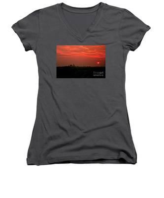 Sunset Over Philly Women's V-Neck