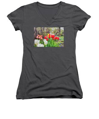 The Tulips Are Out. Women's V-Neck