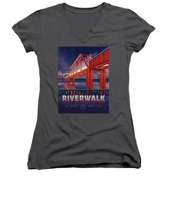 Union Railroad Bridge - Riverwalk Women's V-Neck