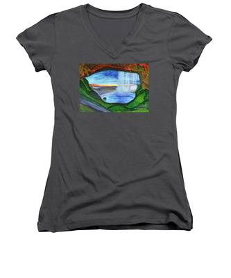 View From The Cave To The Waterfall Women's V-Neck