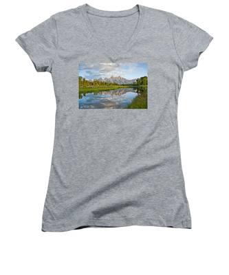 Teton Range Reflected In The Snake River Women's V-Neck