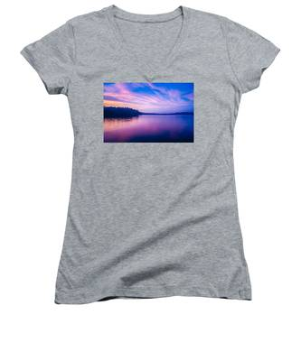 Sunset During Blue Hour At The Lake Women's V-Neck