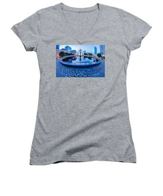 St. Louis Downtown Skyline Buildings At Night Women's V-Neck