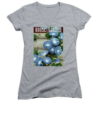 A House And Garden Cover Of Flowers Women's V-Neck