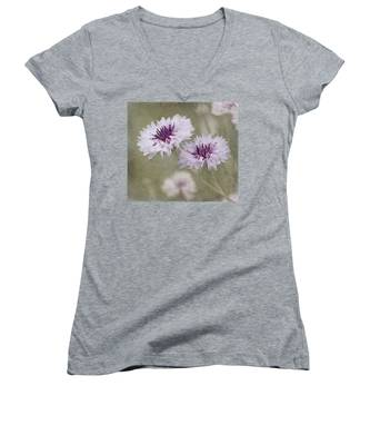 Bachelor Buttons - Flowers Women's V-Neck