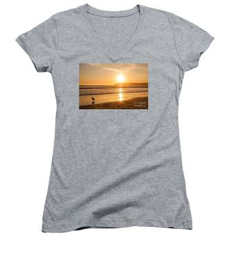 Bird And His Sunset Women's V-Neck