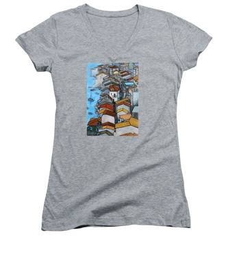 Boats In Front Of The Buildings Iv Women's V-Neck
