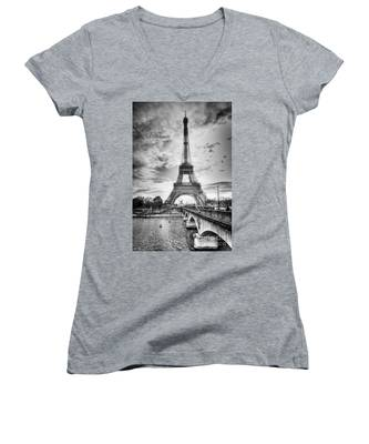 Bridge To The Eiffel Tower Women's V-Neck