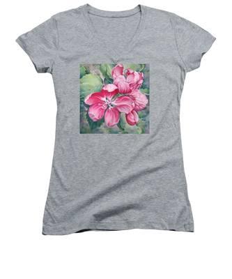Flower Of Crab-apple Women's V-Neck