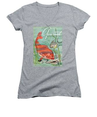 Gourmet Cover Featuring A Snapper And Pompano Women's V-Neck