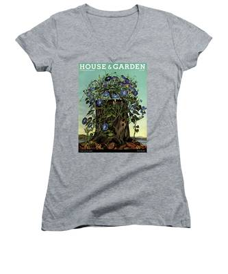 House And Garden Cover Featuring Flowers Growing Women's V-Neck
