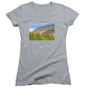 Meadow Of Fireweed Below The Continental Divide Women's V-Neck