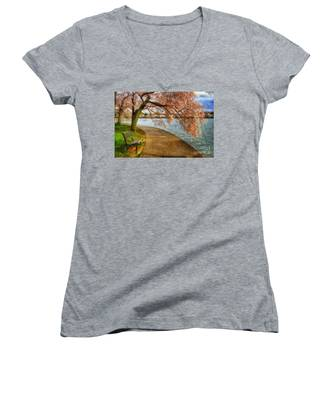 Meet Me At Our Bench Women's V-Neck