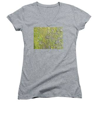 Natural Abstract 1 Old Fence With Moss Women's V-Neck