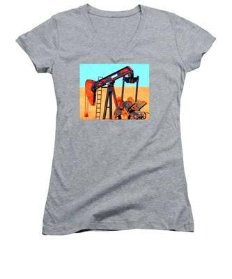 Oil Pump - Painterly Women's V-Neck