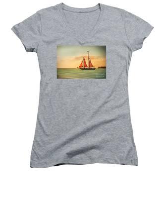 Sailing Into The Sun Women's V-Neck